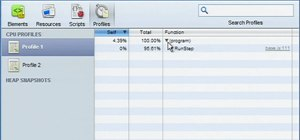 Profile the execution time and memory usage of a web app in Google Chrome