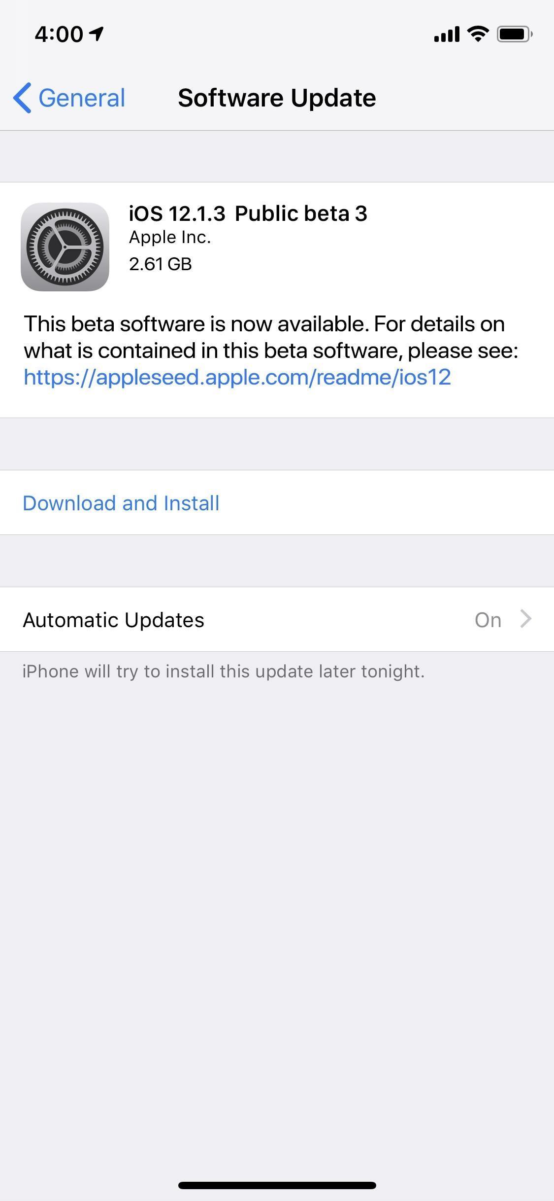 Apple has just released iOS 12.1.3 Public Beta 3 for iPhones