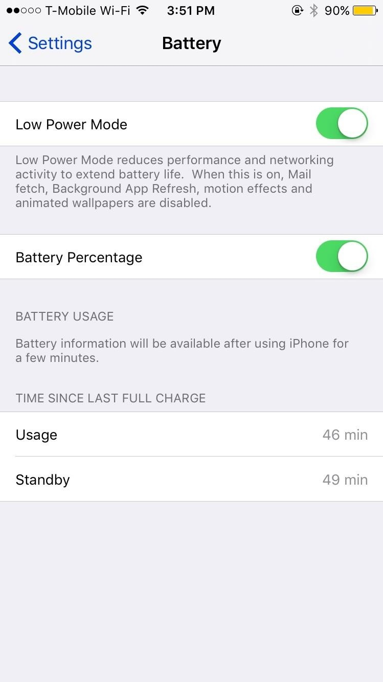 Extend Your iPhone's Battery Life by 3 Hours Using Low Power Mode in iOS 9