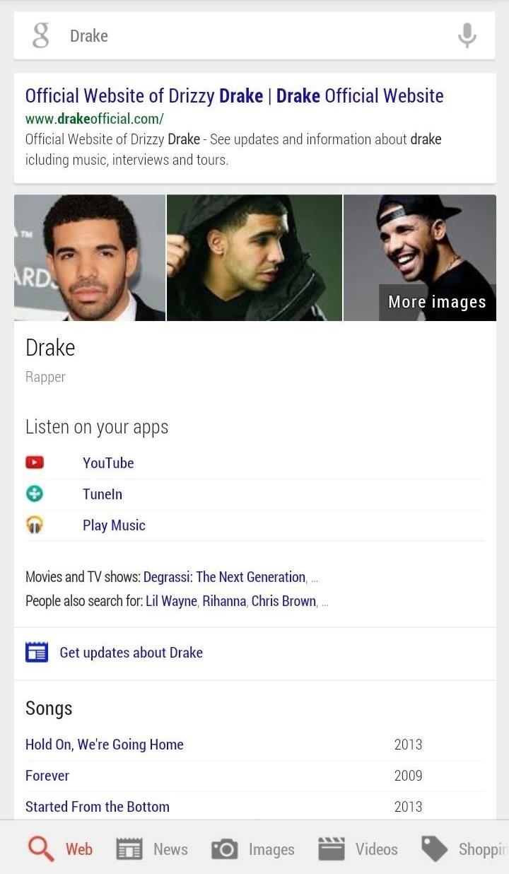 From Search to Music with a Single Click Using Google Now