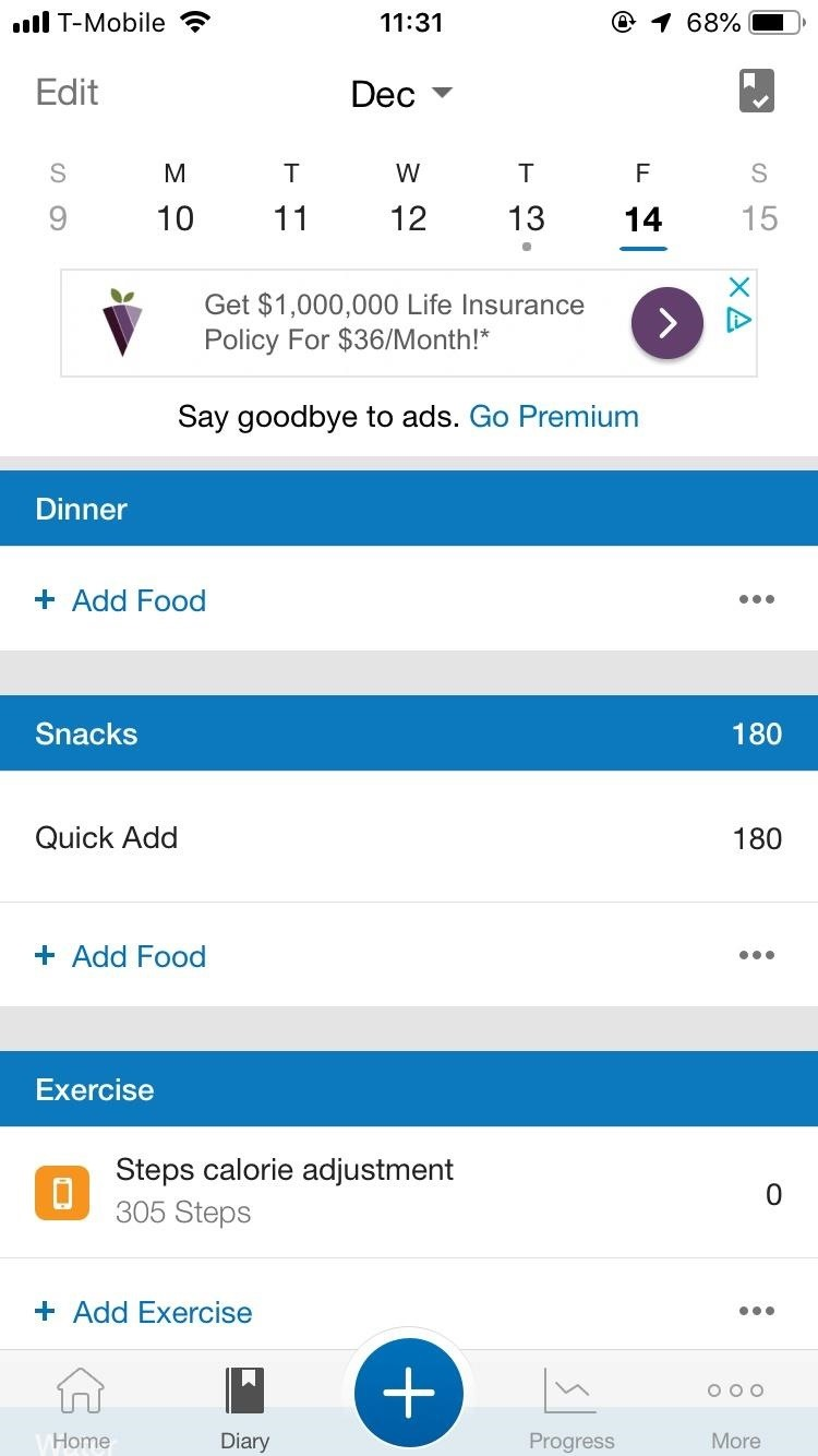 To quickly add calories to snacks in MyFitnessPal to make yourself responsible for every little bite Make
