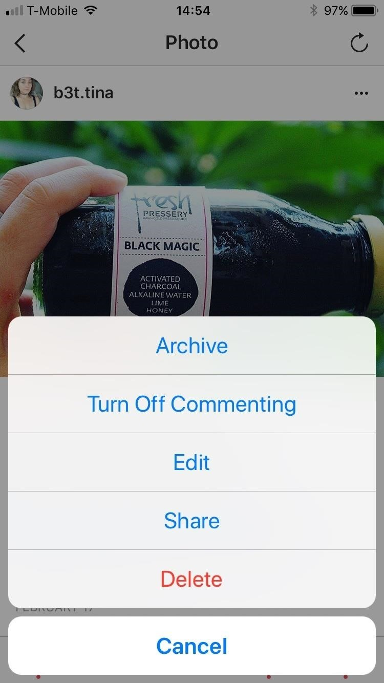how to delete a instagram photo