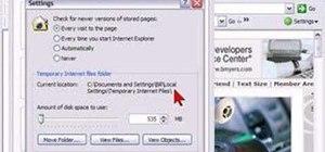 Set Internet Explorer Cache Settings