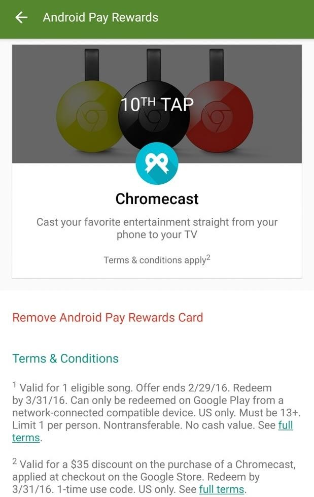 Deal Alert: Use Android Pay to Get a Free Chromecast & Music