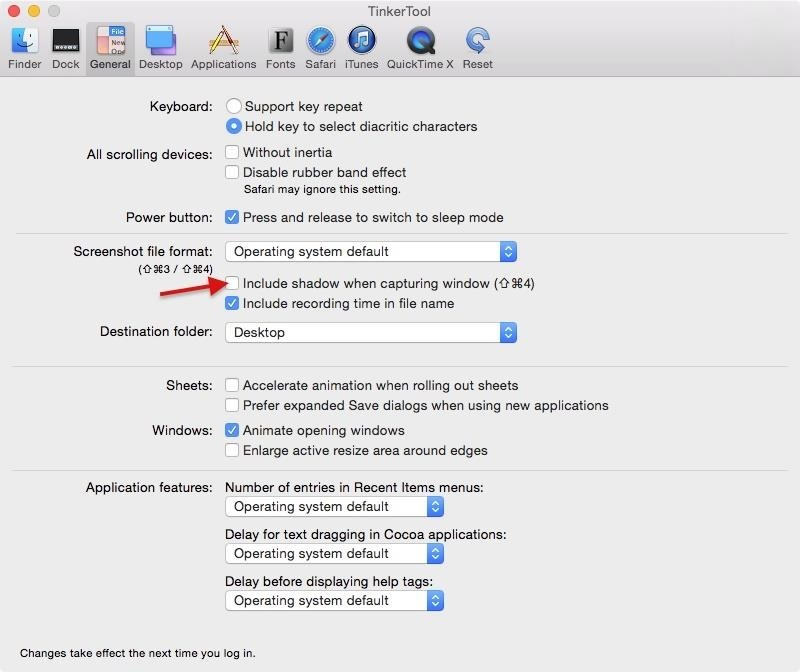 How to take screenshots of windows without drop shadows in mac os x your choice wont be activated until you reset your macs menu bar services which you can do by either logging out and logging back into your user profile ccuart Gallery
