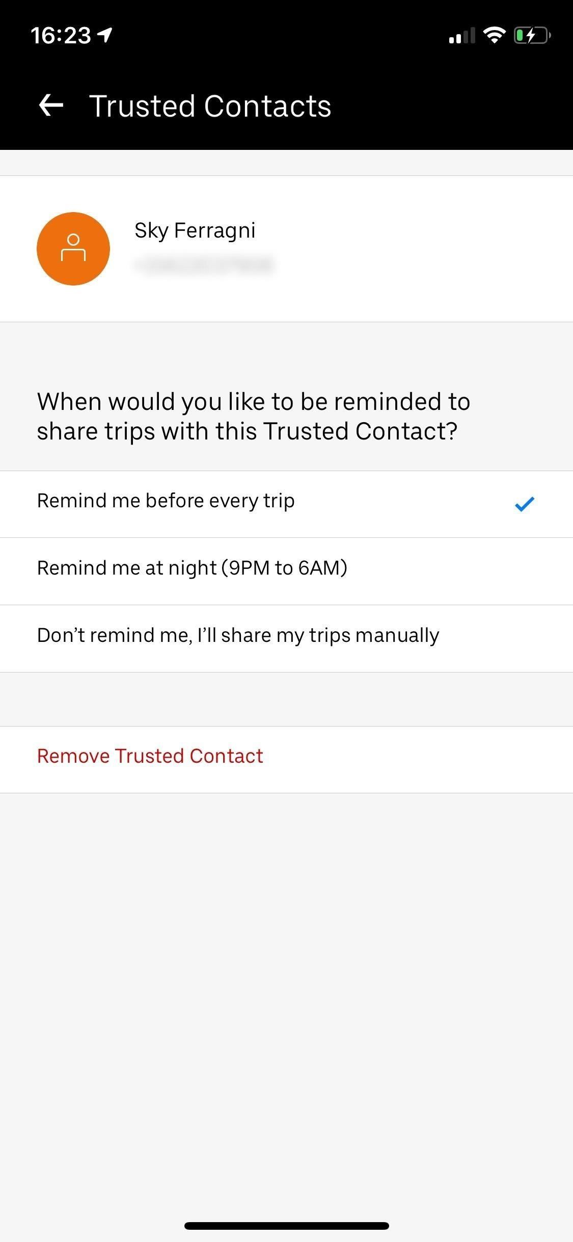 To send your Uber-Trip status to trusted contacts if you ever find yourself in a sketchy location Situation