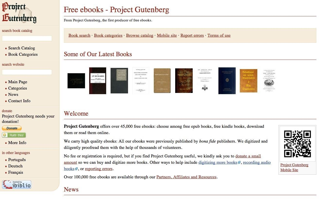 This is a website of Project Gutenberg