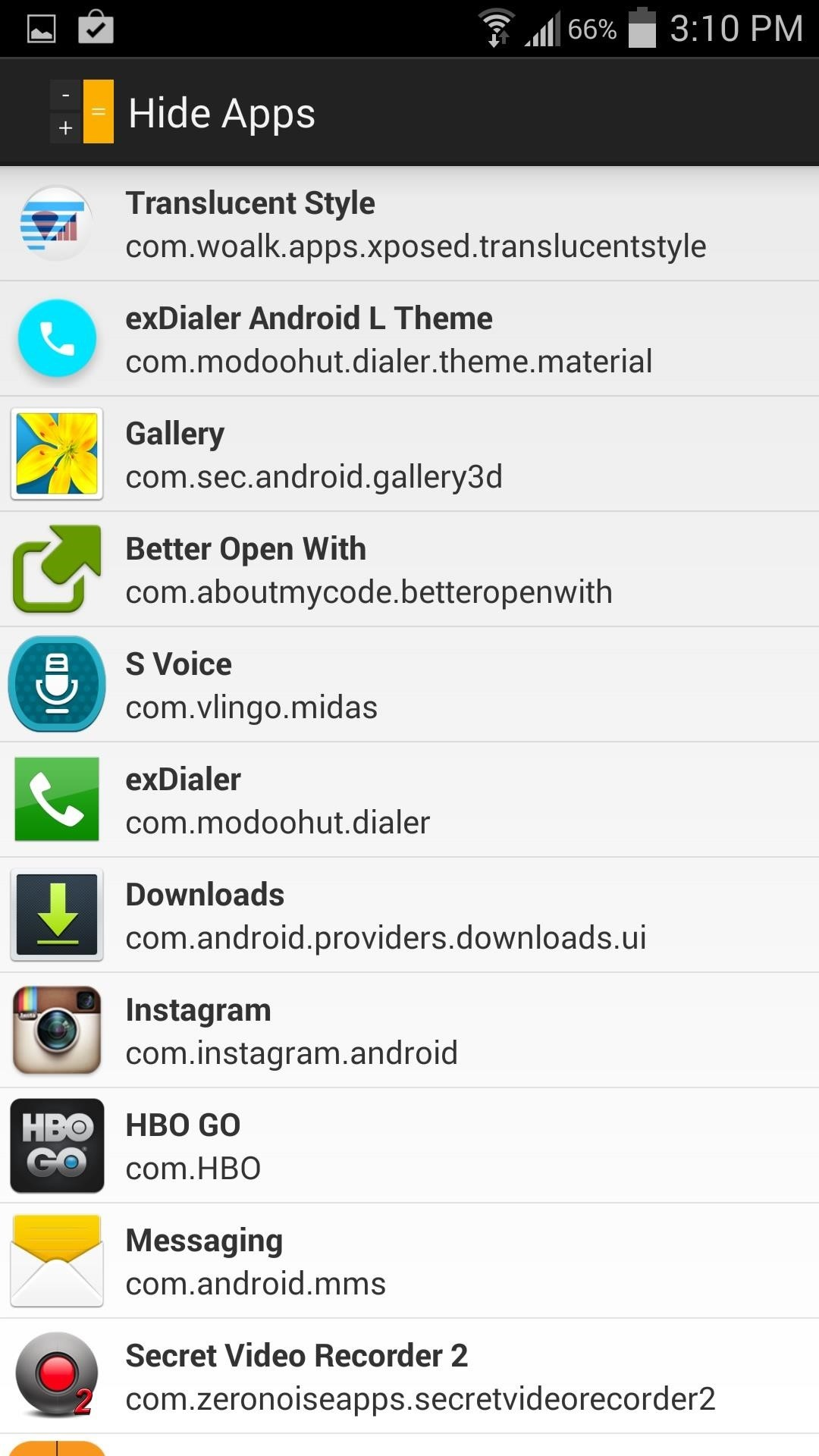 See hidden apps android