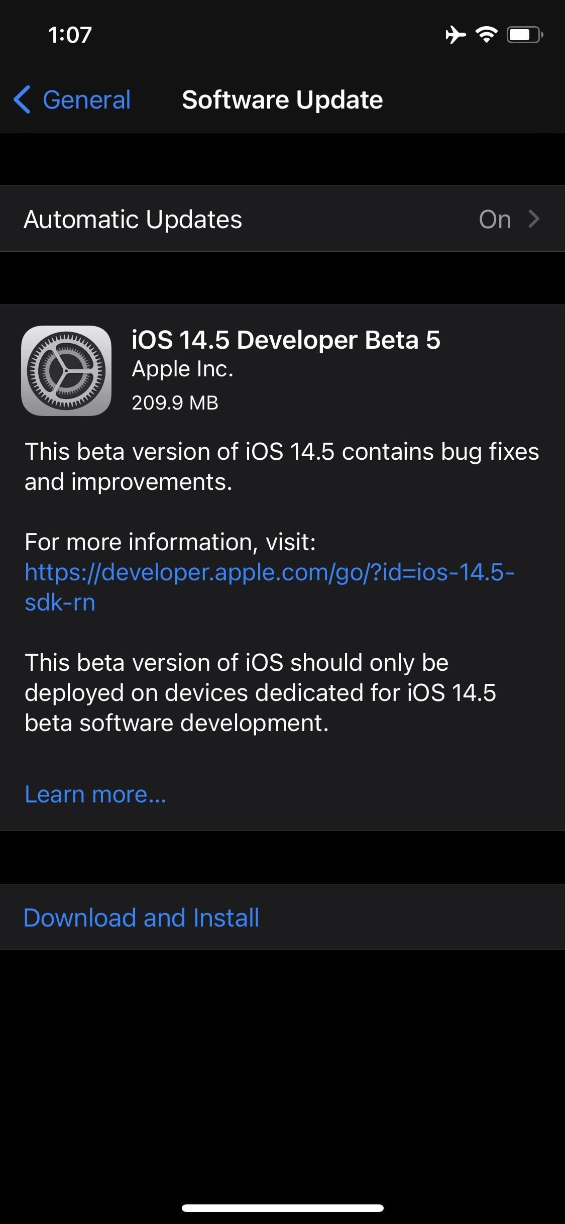 Apple's iOS 14.5 Developer Beta 5 Available for iPhone