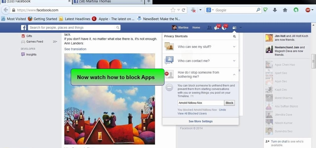 Block Users and App Invites on Facebook