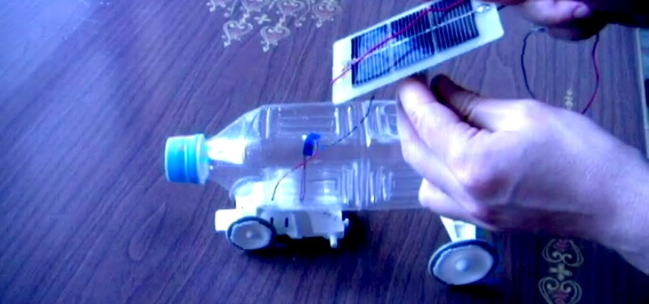 How to make a solar powered plastic bottle toy car hacks for Make your own solar panels with soda cans