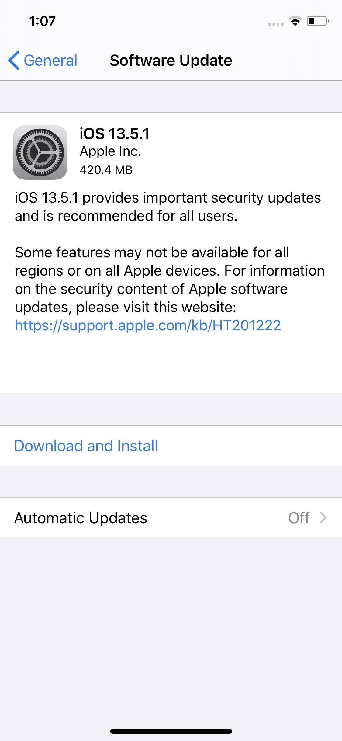 Apple Releases iOS 13.5.1 for iPhone with 'Important Security Updates'