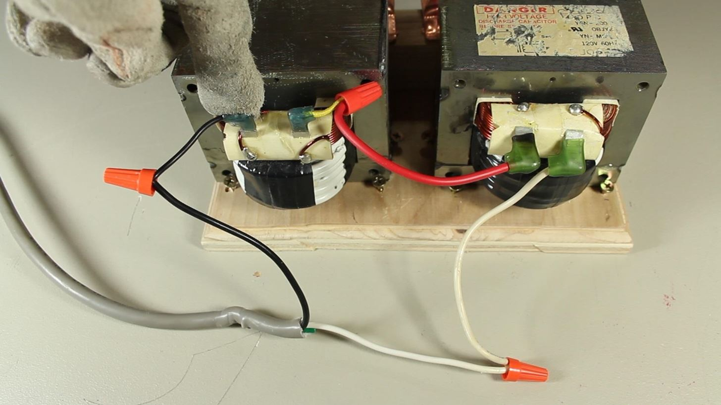 How To Make An Ac Arc Welder Using Parts From Old Microwave Part Thermostat Wiring Two Transformers 2 Hacks Mods Circuitry Gadget