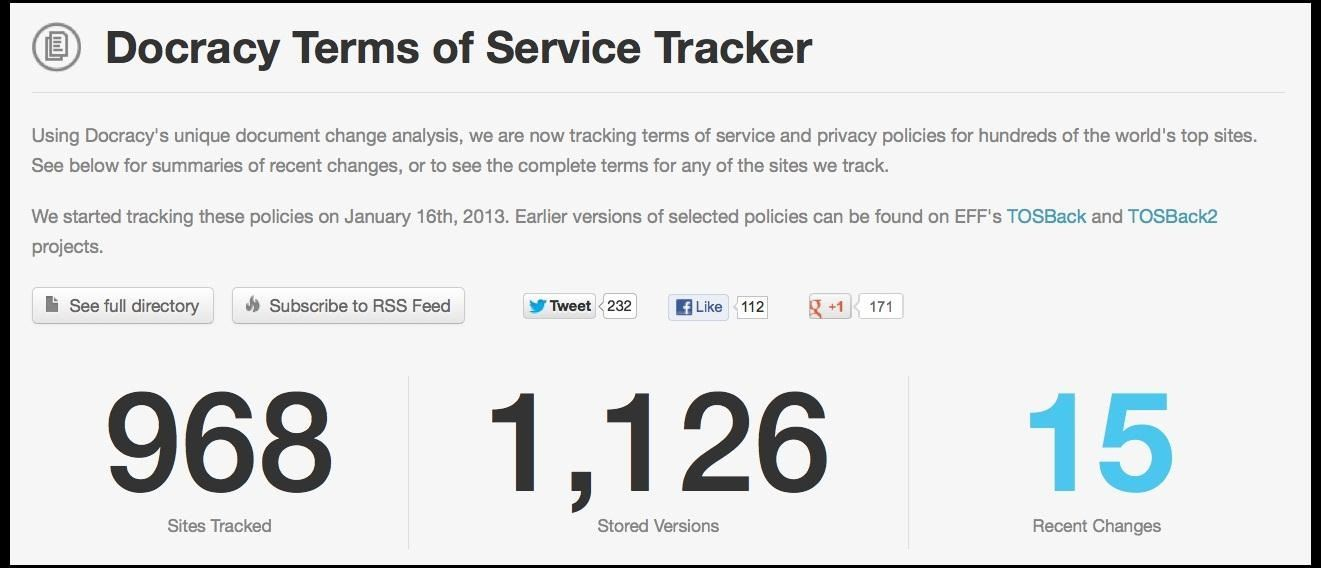 How to Monitor Changes in Your Favorite Website's Terms of Service with Docracy's TOS Tracker