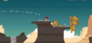 Beat level 12-7 of Angry Birds Ham 'em High with three stars