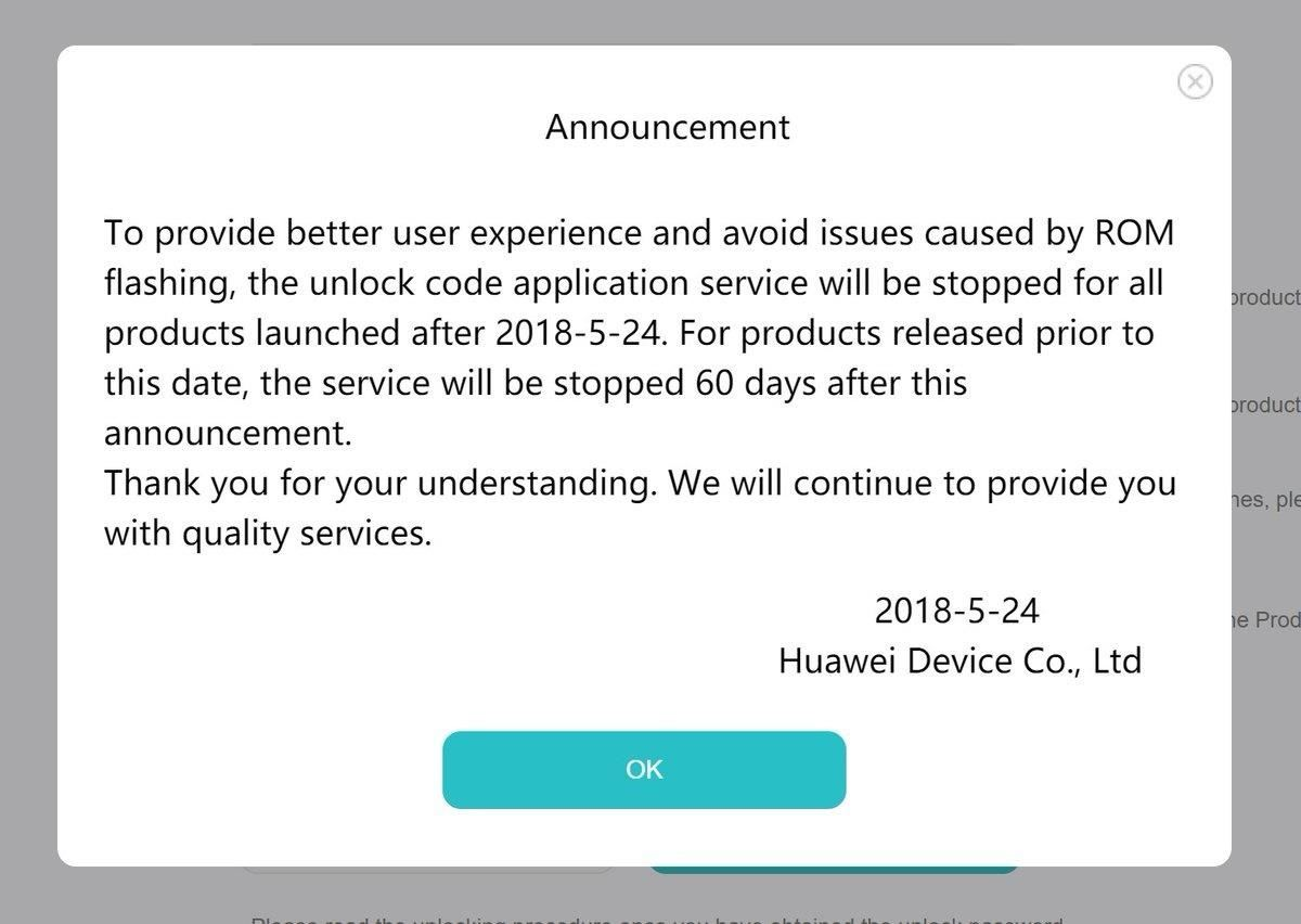 The experiment is over - Huawei no longer helps users to unlock their bootloaders