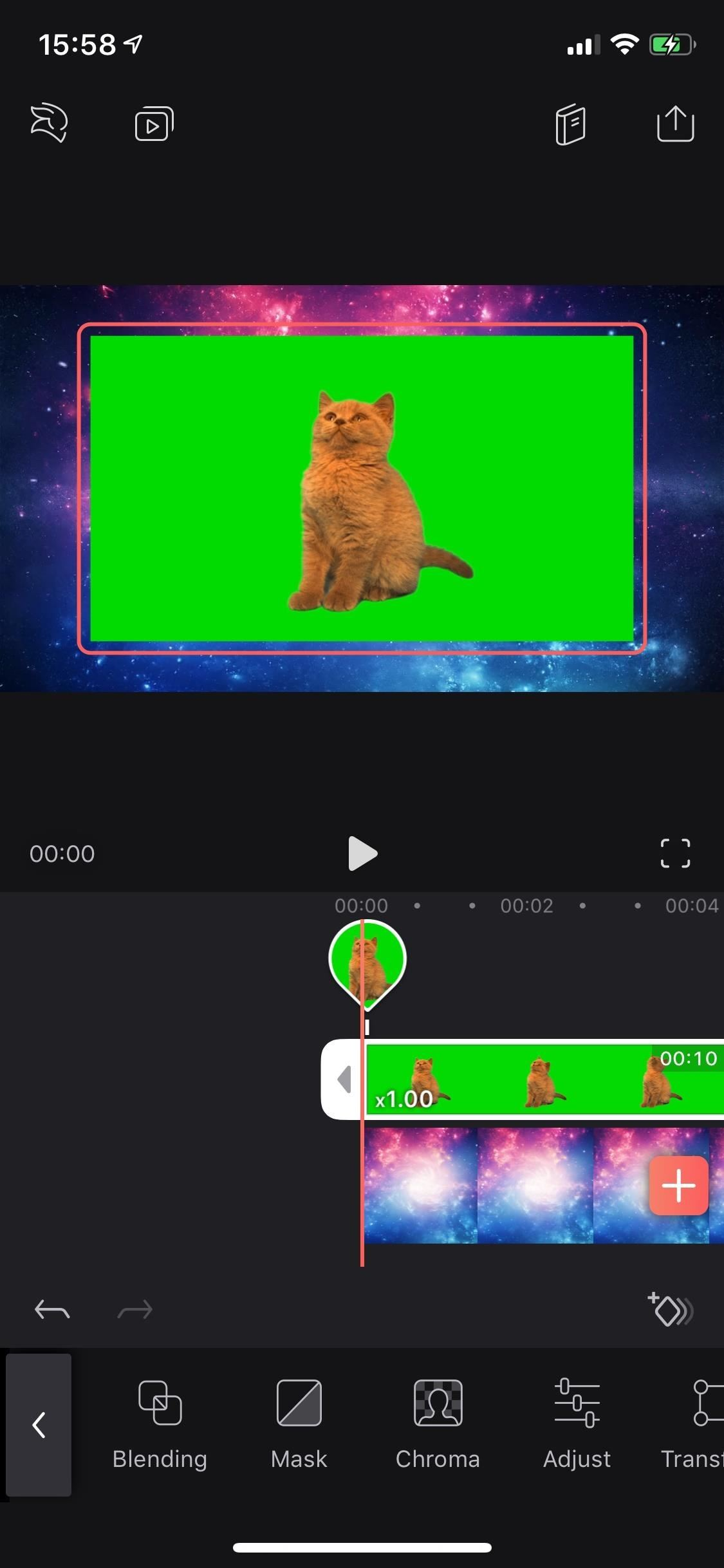 Replace Video Backgrounds with Green Screen Scream Key Tool in Enlight Video Leap for iPhone