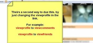 View a Myspace page with hidden comments and friends