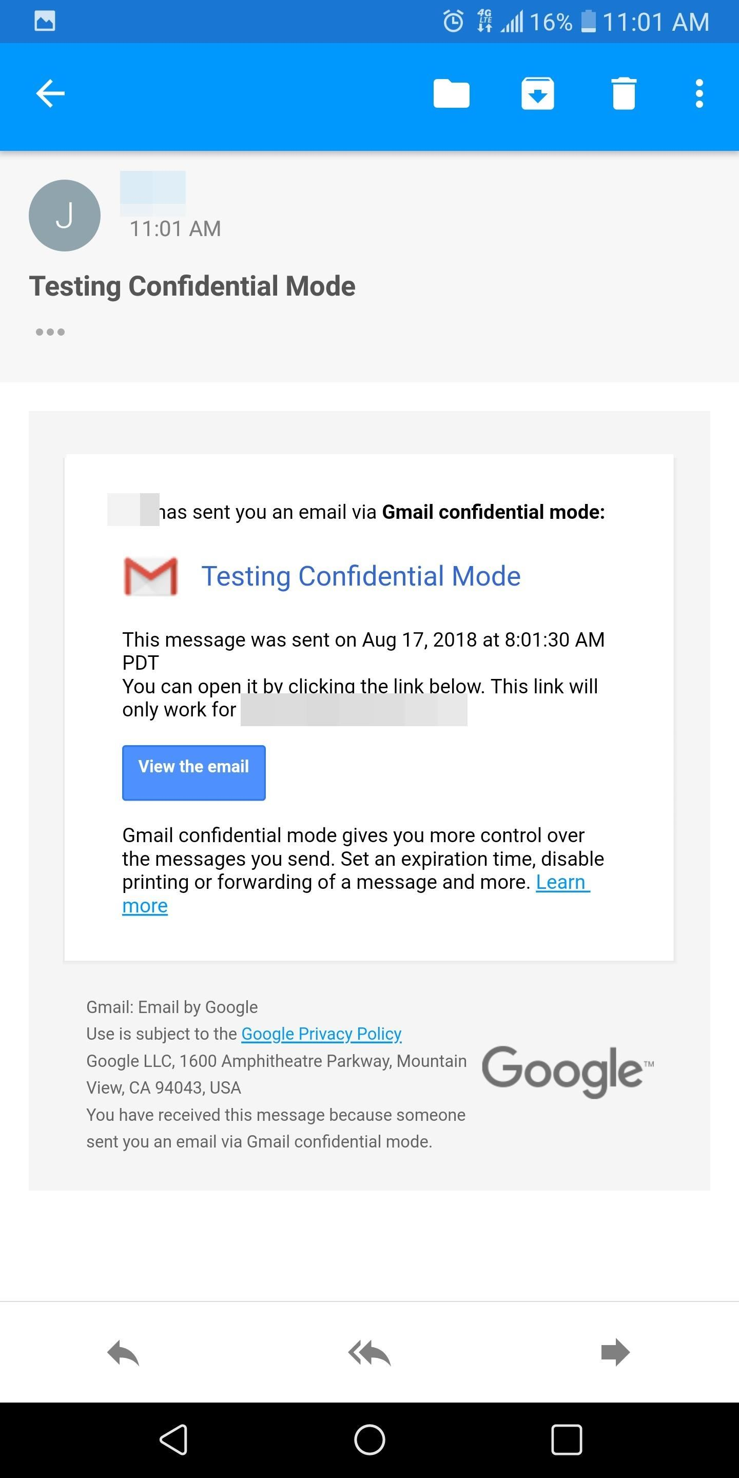 Using Gmail's New Confidential Mode to Send Private, Self-Destructive Emails Through Your Phone