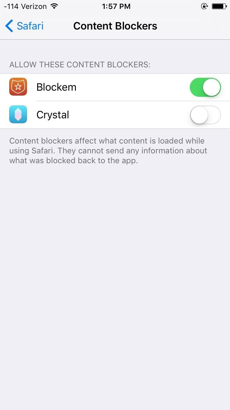 To Get Your New Content Blocker Functioning, Go To Settings > Safari >  Content Blockers