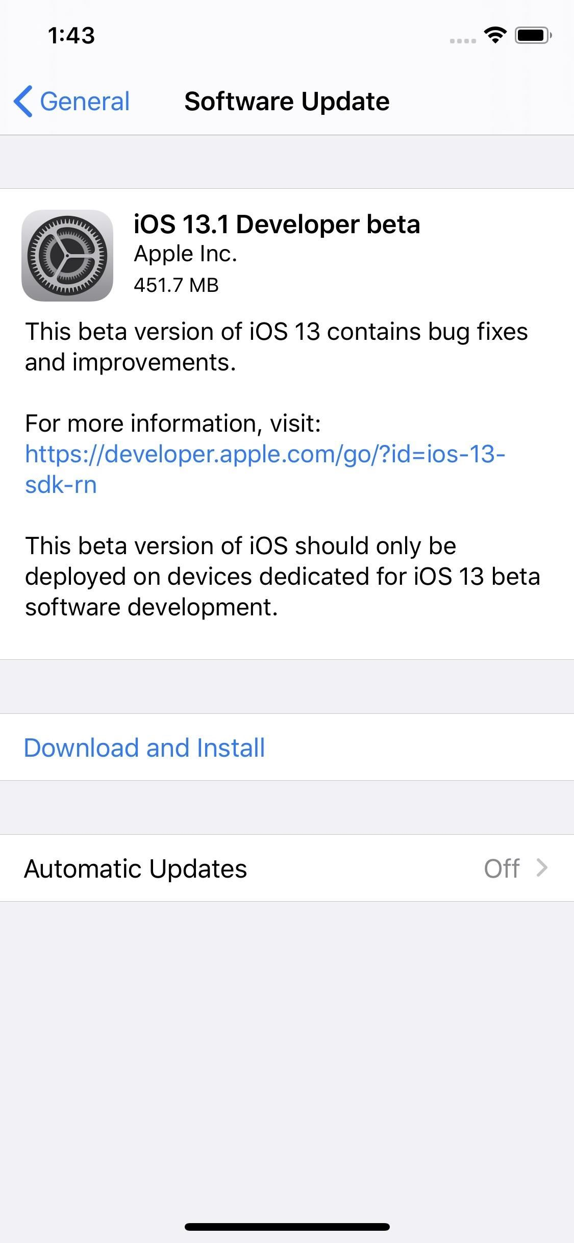 Apple's iOS 13.1 Developer Beta 1 for iPhone Now Available — Before iOS 13's Stable Release