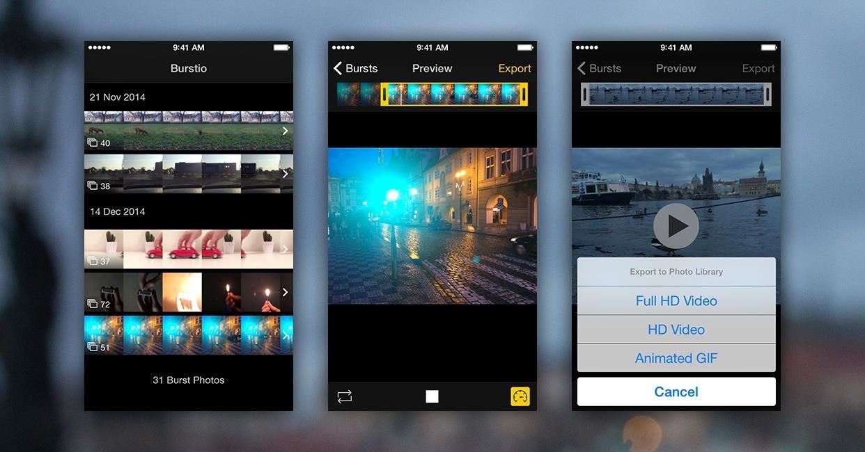 Turn Burst Photos into Videos, Animated GIFs