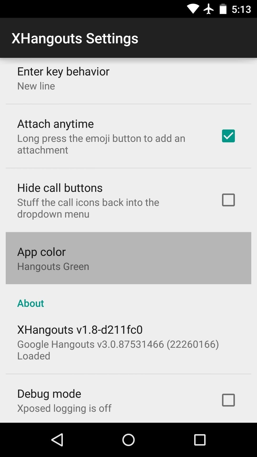 Before your changes will take effect youll have to force stop the hangouts app and re open it to do that drag the hangouts app out of your app drawer