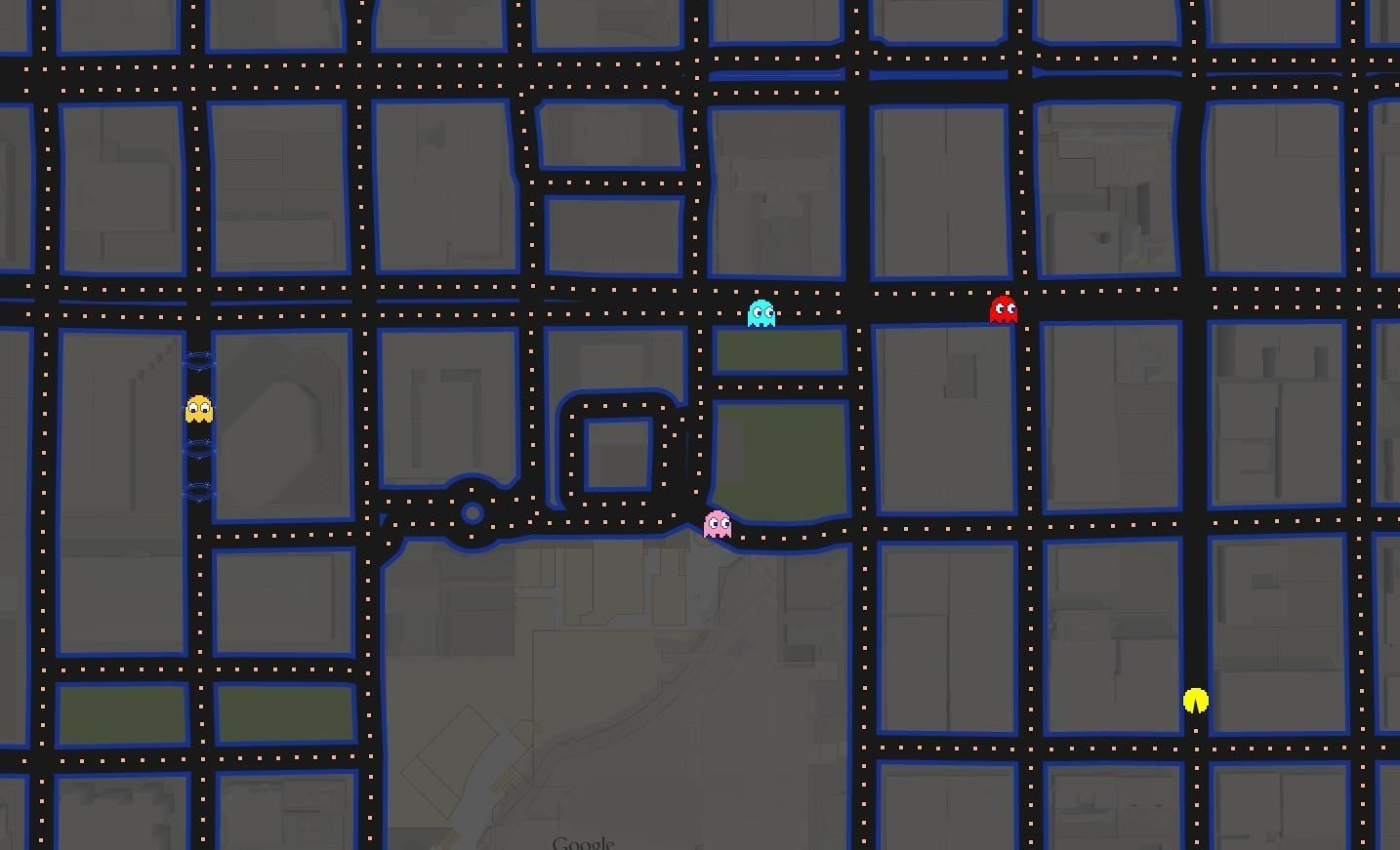 Play Pac-Man Around the World in Google Maps