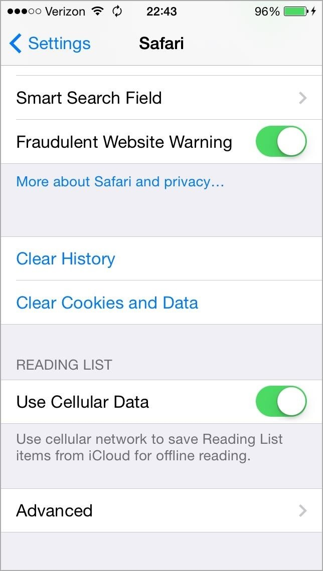 The ultimate guide to freeing up space on your iphone in ios 7 also youll want to actually open up the safari app and hit the bookmark icon at the bottom then navigate to your reading list and delete them one by one ccuart Images