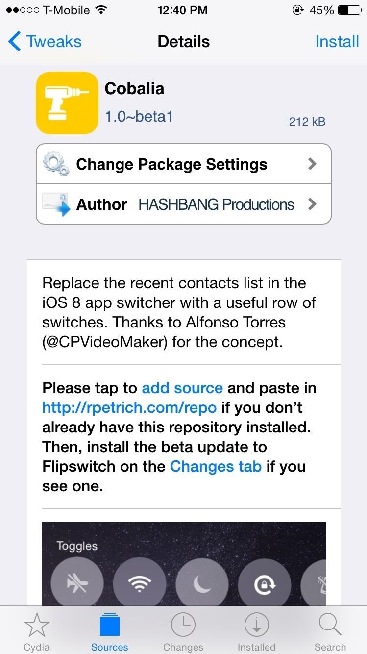 Replace Contacts in Your iPhone's App Switcher with System Toggles