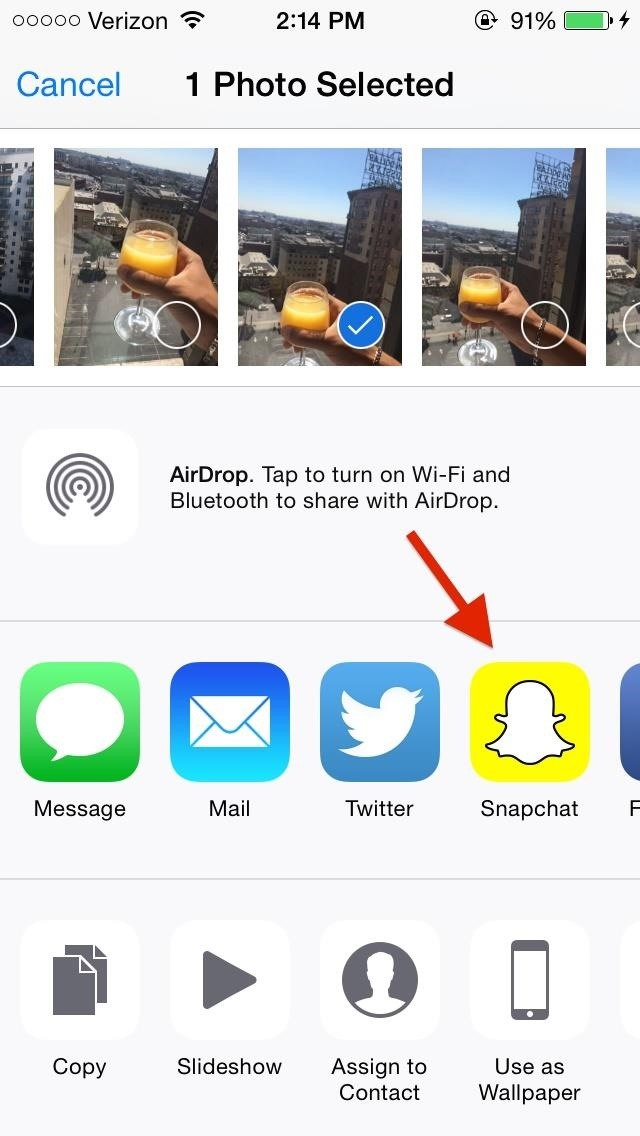 How to Snapchat Directly from Your Photos App on iOS 8