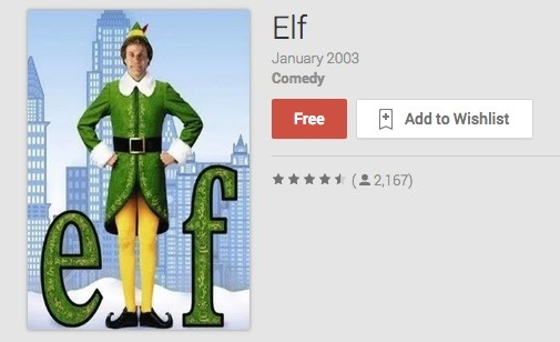 "Will Ferrell's ""Elf"" Movie Free on Google Play (Limited Time Only)"