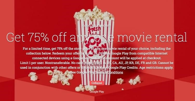 Deal Alert: Google's Giving 75% Off Any Movie Rental