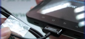 Plug the data cable into the Samsung Galaxy Tab
