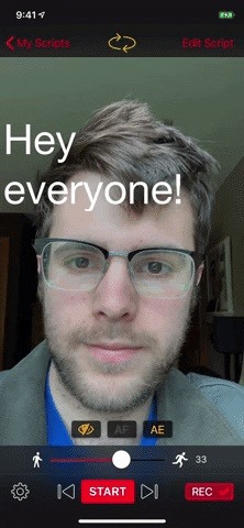 Turn your phone into a teleprompter to record self videos without breaking eye contact