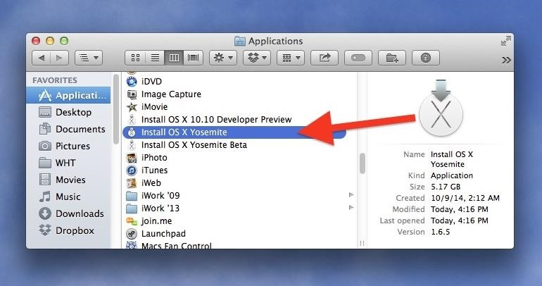 How to Create a Bootable Install USB Drive of Mac OS X 10.10 ... Once you install Yosemite, the file will automatically erase itself, so  it's important to make a bootable drive first. If you want to install first  and then ...