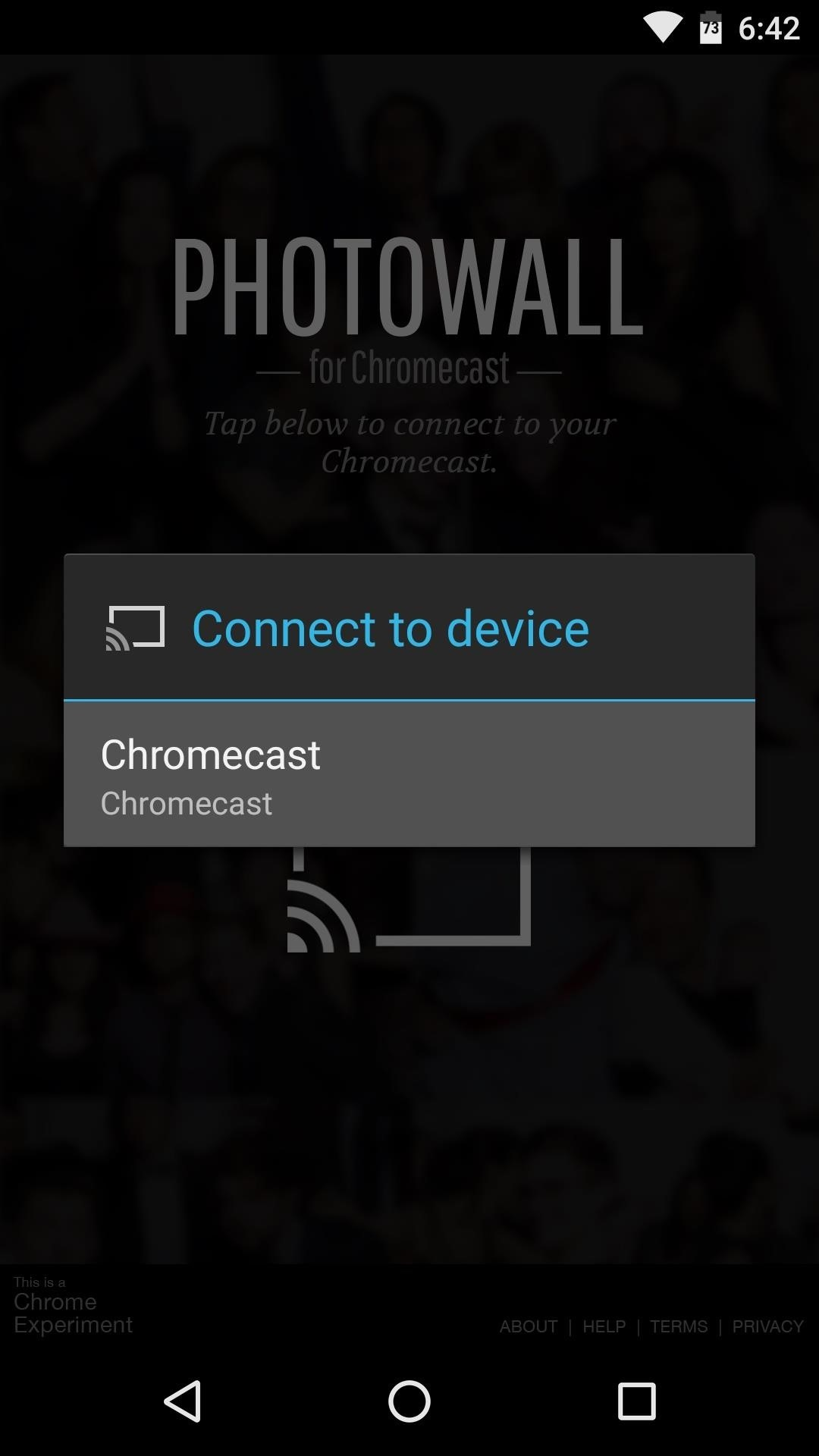 install the app once connected users can take pictures which will immediately be displayed on the chromecast when youre done your partys
