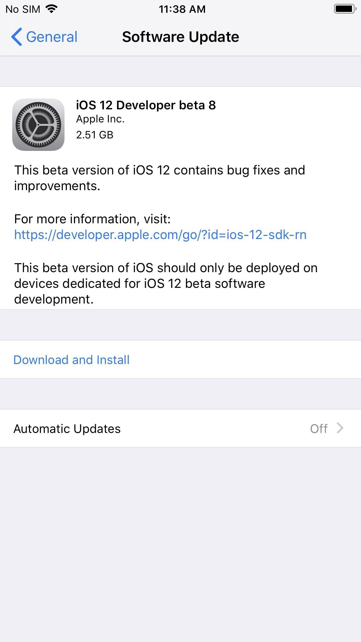 iOS 12 Beta 8 Released to Apple Developers