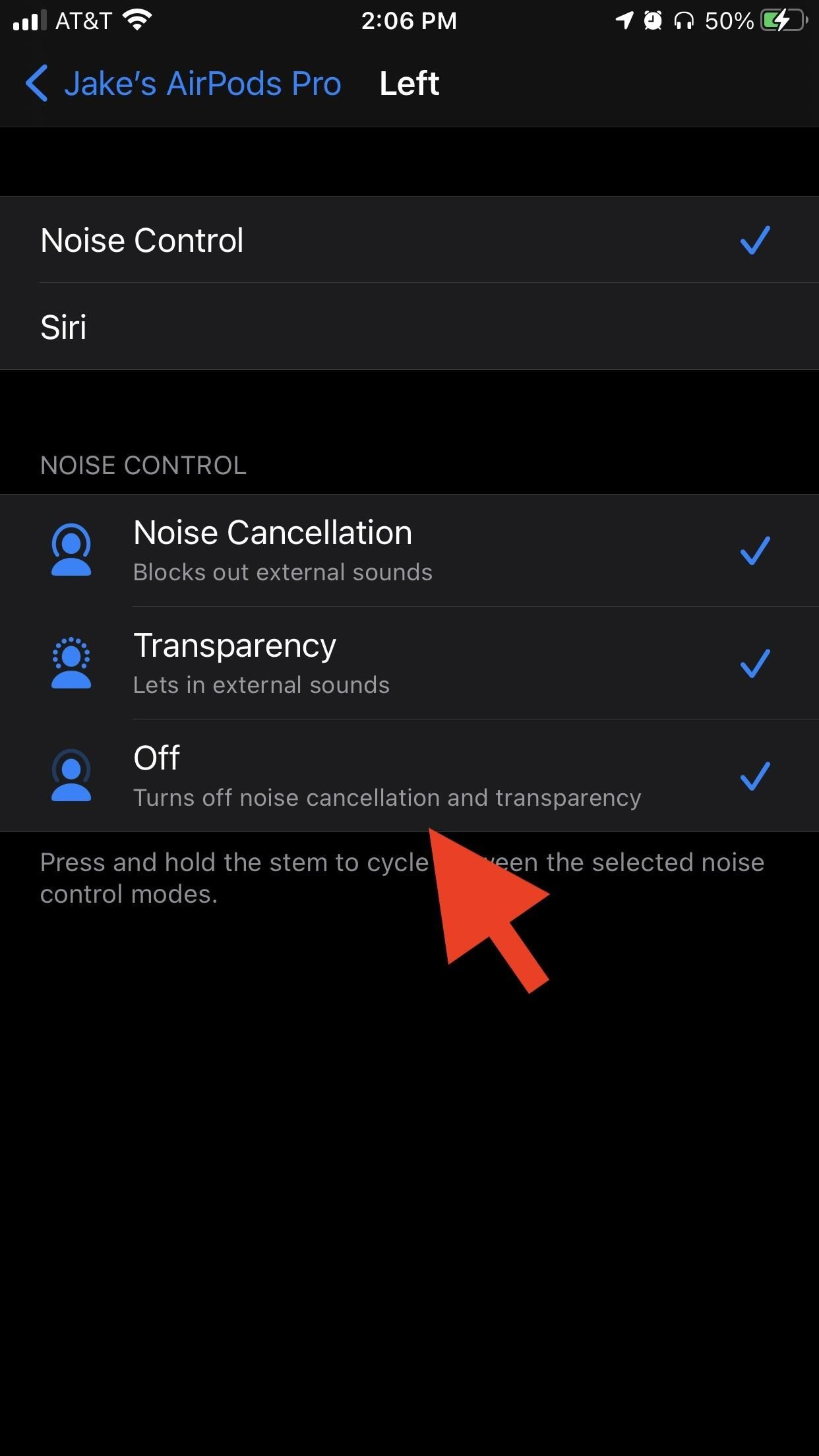 How to Turn Transparency or Noise Cancellation Off Using the AirPods Pro Stem