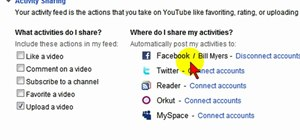 Display your YouTube activity on your Facebook profile