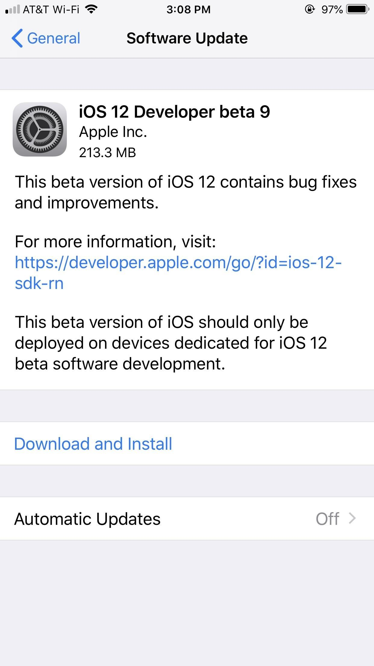 iOS 12 Beta 9 for iPhone Released to Apple Developers
